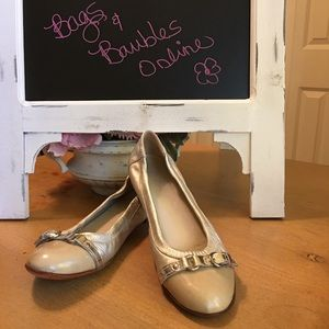 Attilio Giusti Leombruni Nude Gold Flat Shoes 38 8